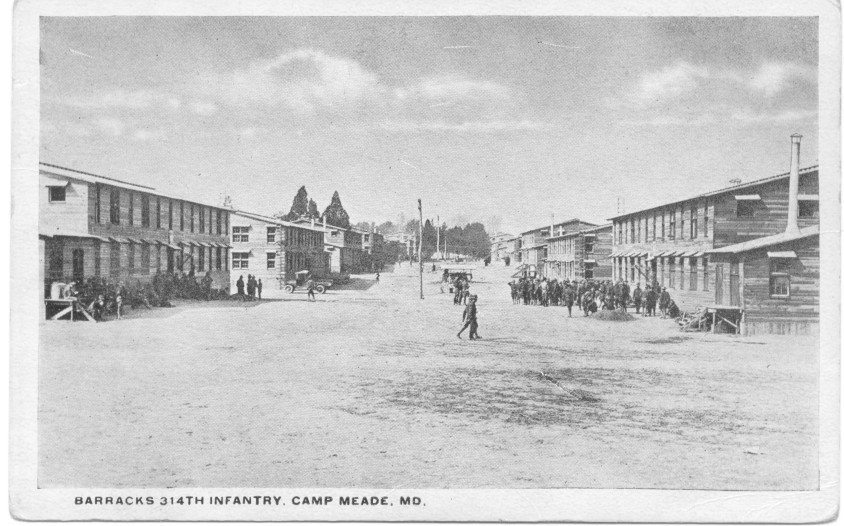 www.314th.org - Postcard - 1917 - Barracks 314th Infantry, Camp Meade, Maryland - Front