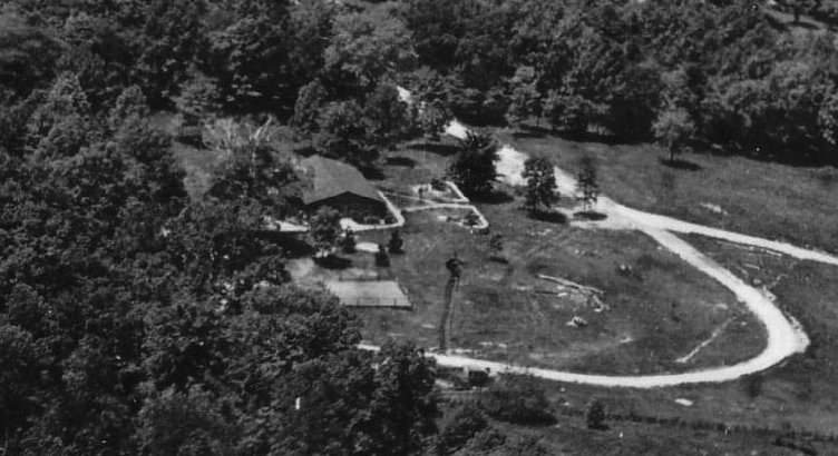 1928 Aerial Photography of the 314th Infantry Log Cabin by the Victor Dallin Aerial Survey Company (close-up)