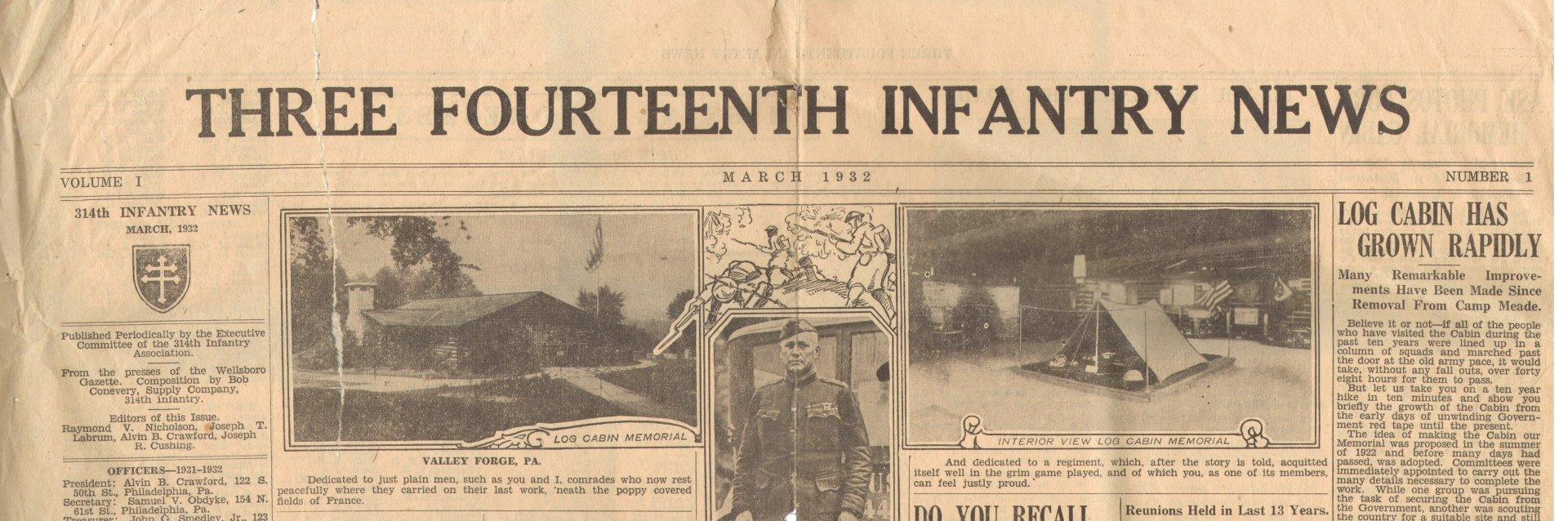 314th Infantry News Newspaper - March 1932 - masthead