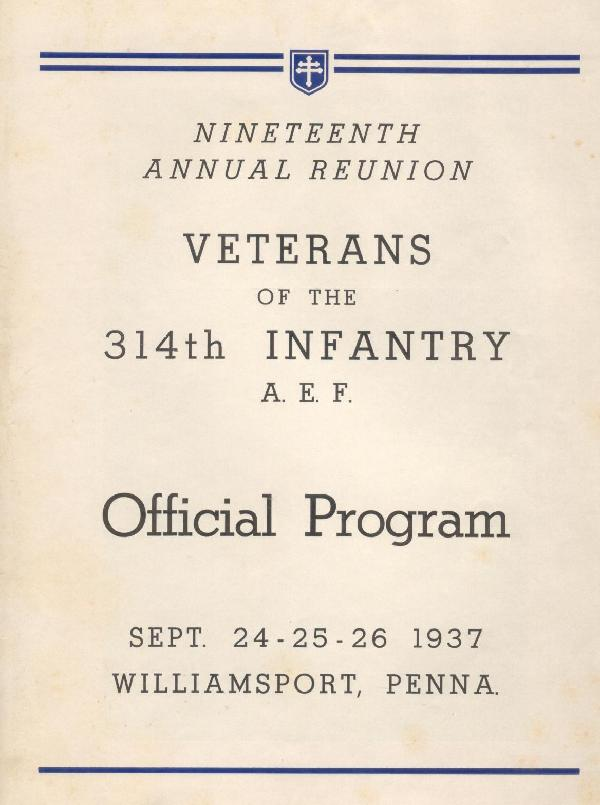 314th Infantry Regiment A.E.F. - Nineteenth Annual Reunion - 1937 - Page 1
