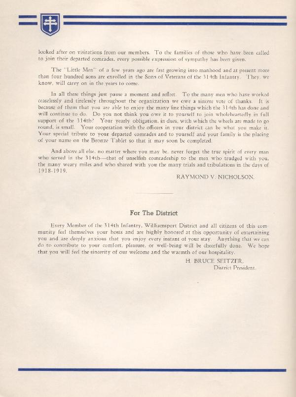 314th Infantry Regiment A.E.F. - Nineteenth Annual Reunion - 1937 - Page 6
