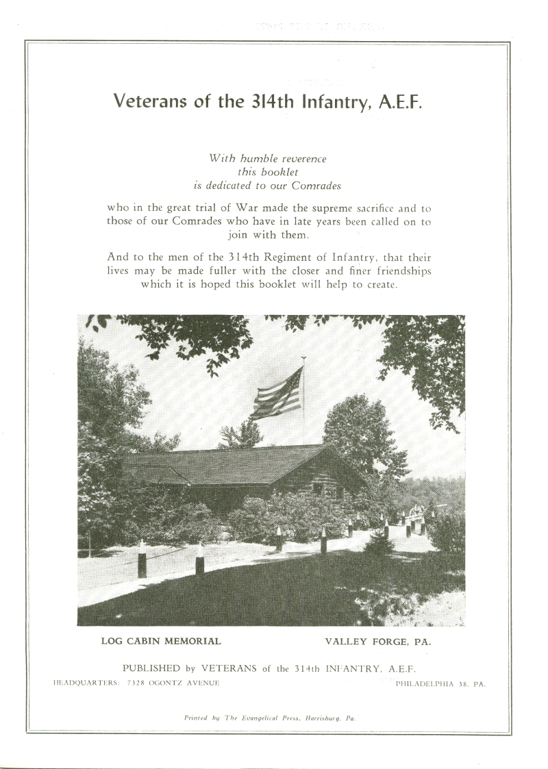 Veterans 314th Infantry Regiment A.E.F. - 1948 Reunion - Memorial Booklet and Directory - Page 01