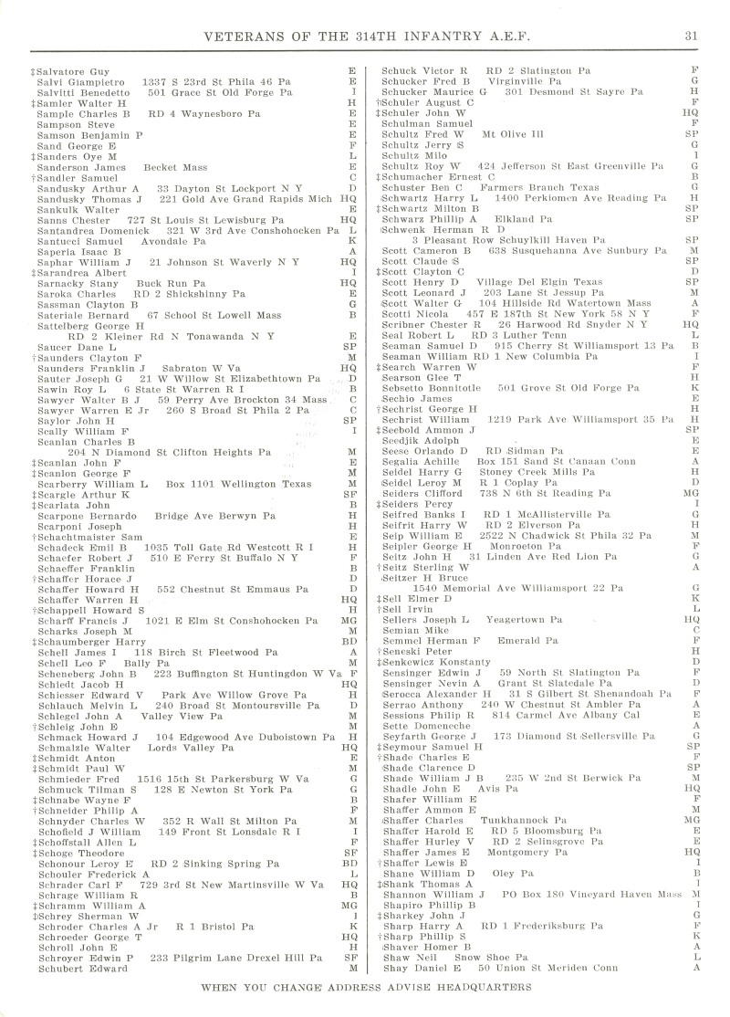 Veterans 314th Infantry Regiment A.E.F. - 1948 Reunion - Memorial Booklet and Directory - Page 31