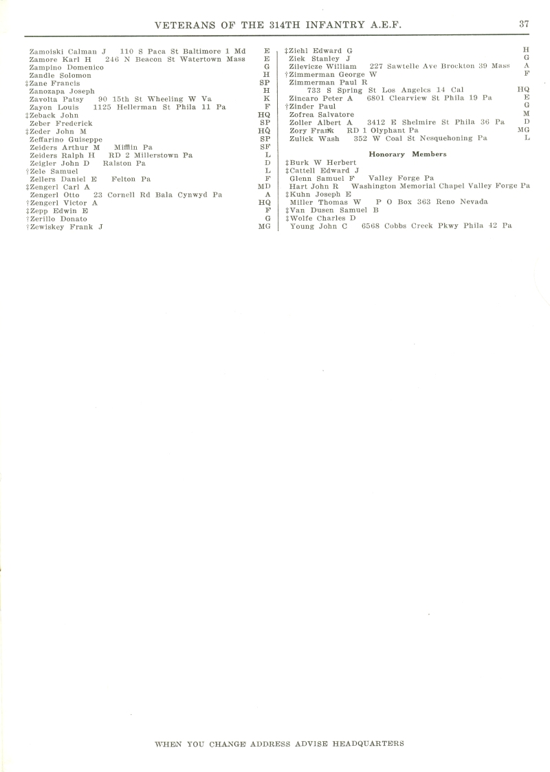 Veterans 314th Infantry Regiment A.E.F. - 1948 Reunion - Memorial Booklet and Directory - Page 37