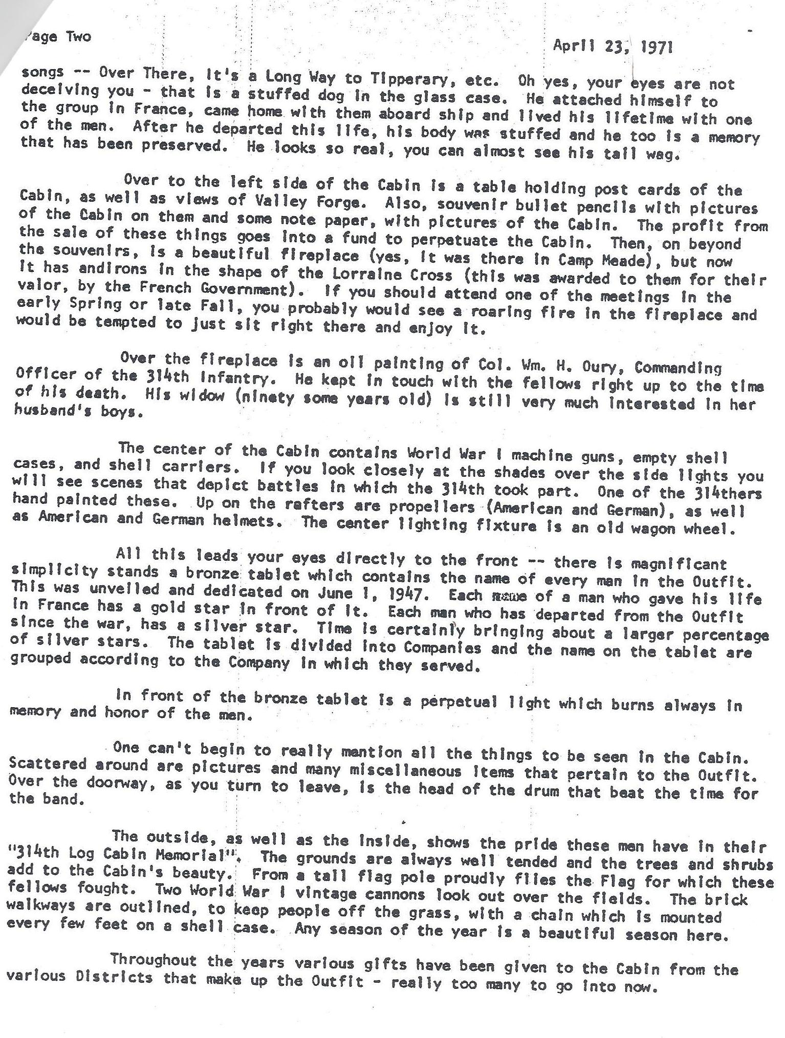 Log Cabin Memorial - Veterans 314th Infantry Regiment A.E.F. - Mary E. Robinson Letter - 1970 - Page 2