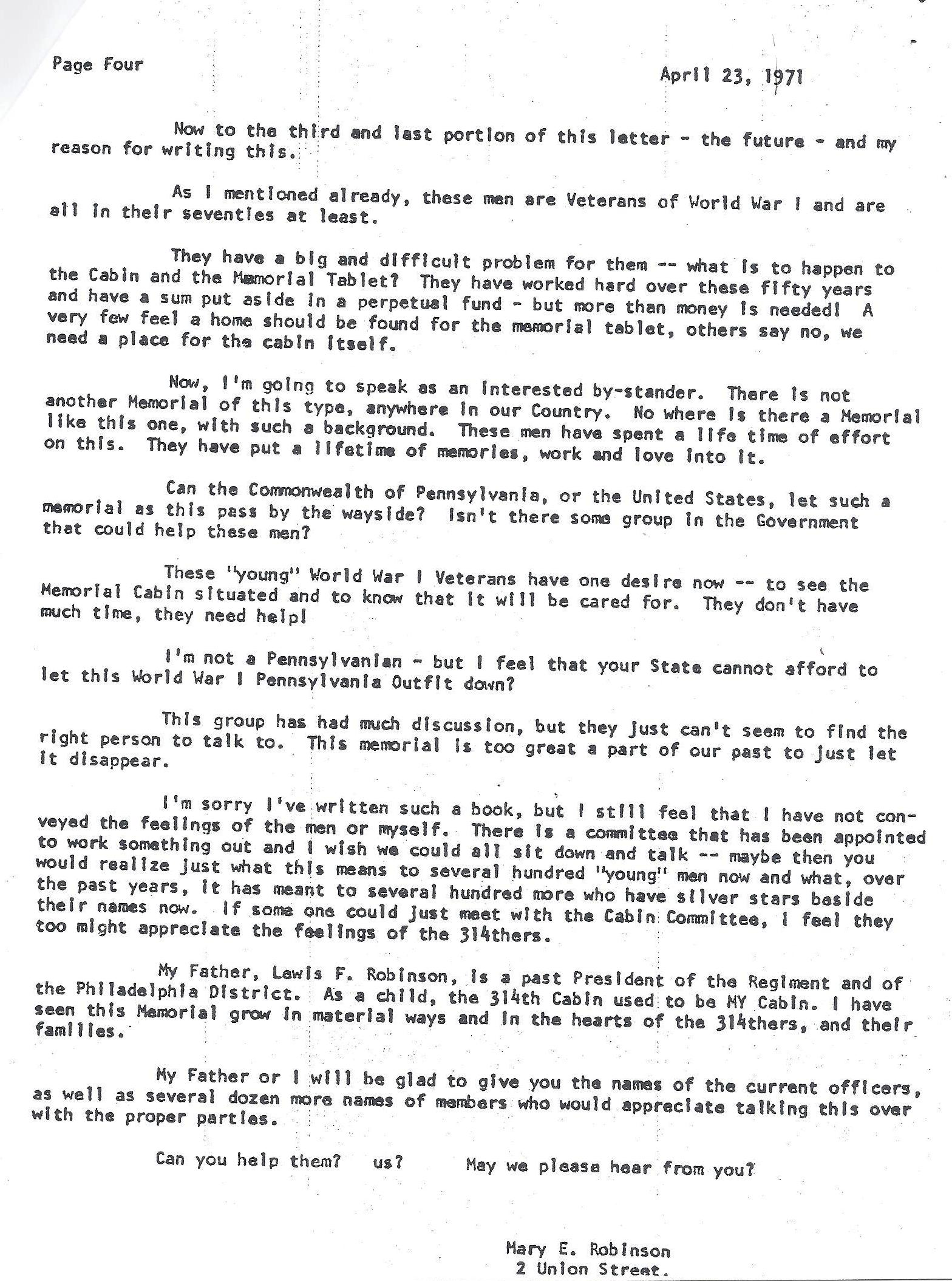 Log Cabin Memorial - Veterans 314th Infantry Regiment A.E.F. - Mary E. Robinson Letter - 1970 - Page 4