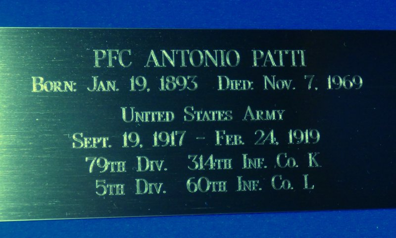 Log Cabin Memorial - Veterans 314th Infantry Regiment A.E.F. - Antonio Patti - Company K - engraving