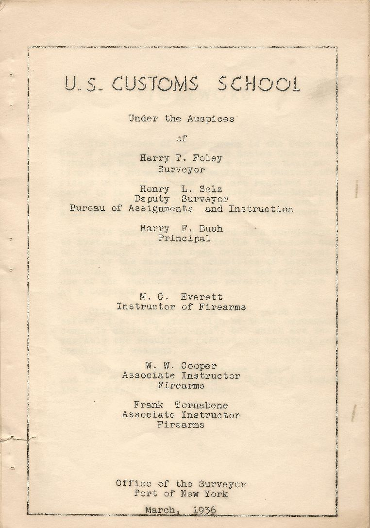 Antonio Patti - US Customs School - New York - Care and Use of Small Firearms - Title Page