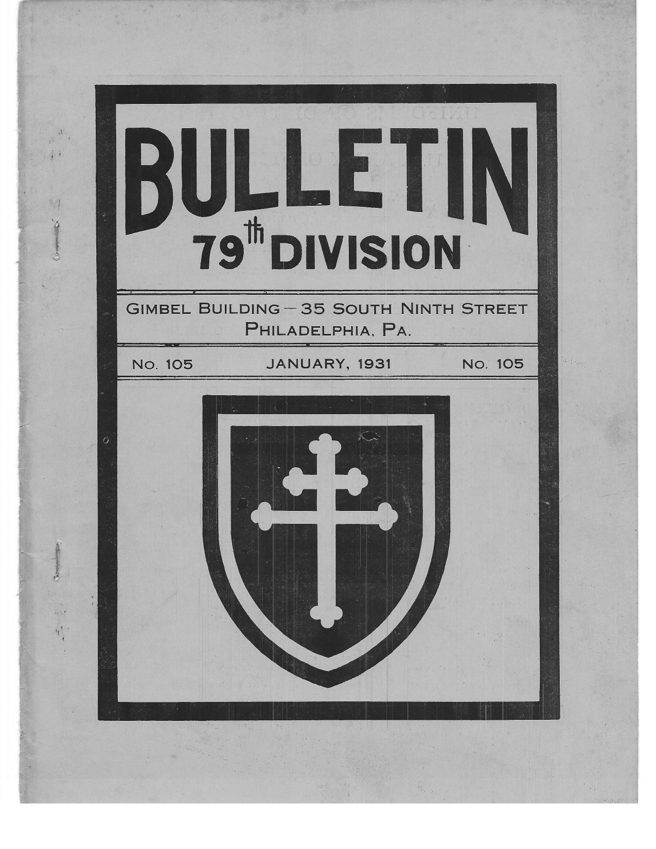 79th Division Bulletin January 1931 Number 105
