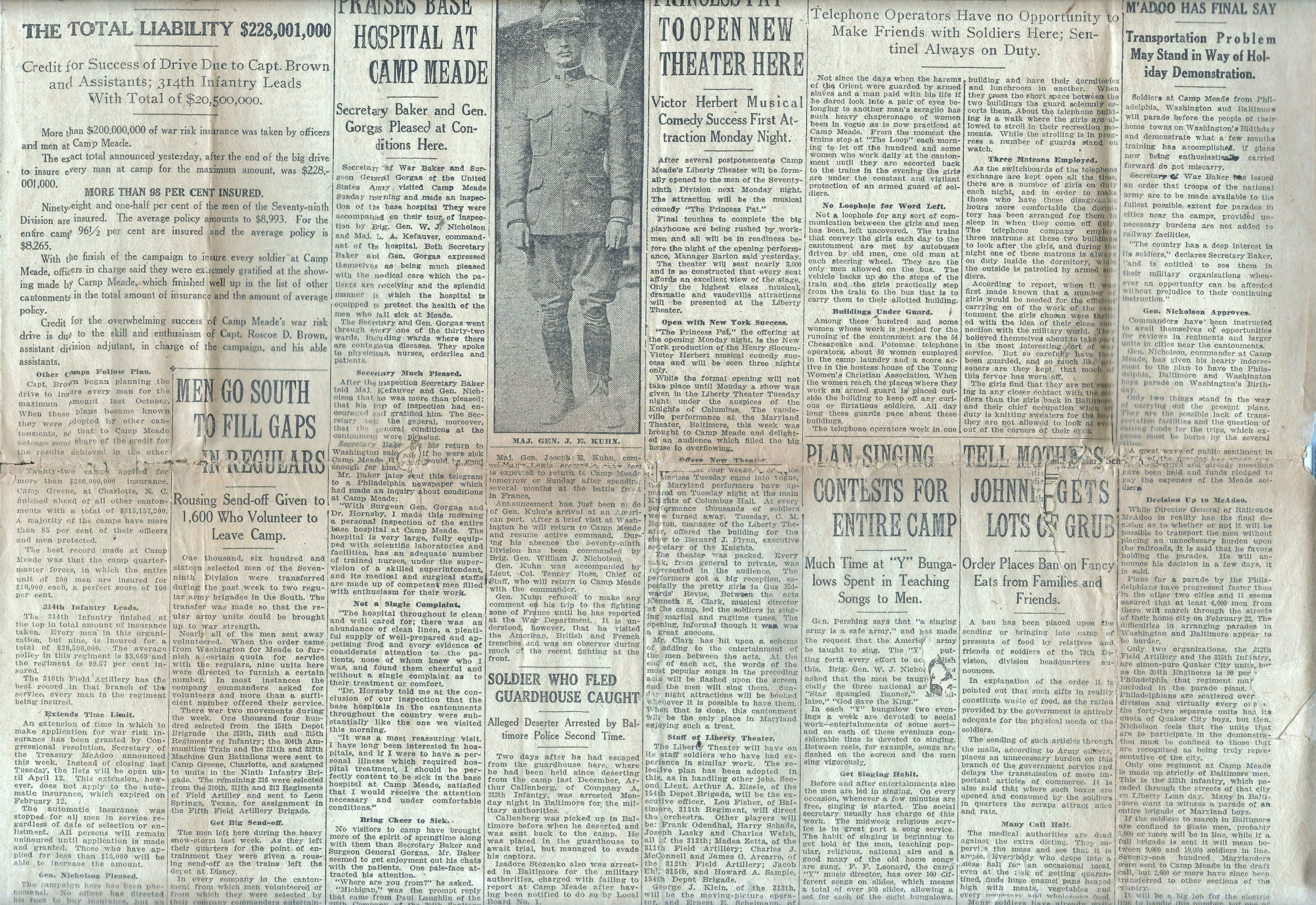 Camp Meade Herald newspaper - February 15 1918 - Page 1 Middle