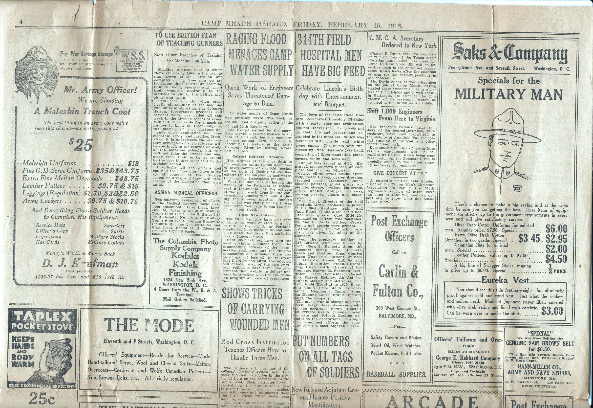 Camp Meade Herald newspaper - February 15 1918 - Page 4 Top