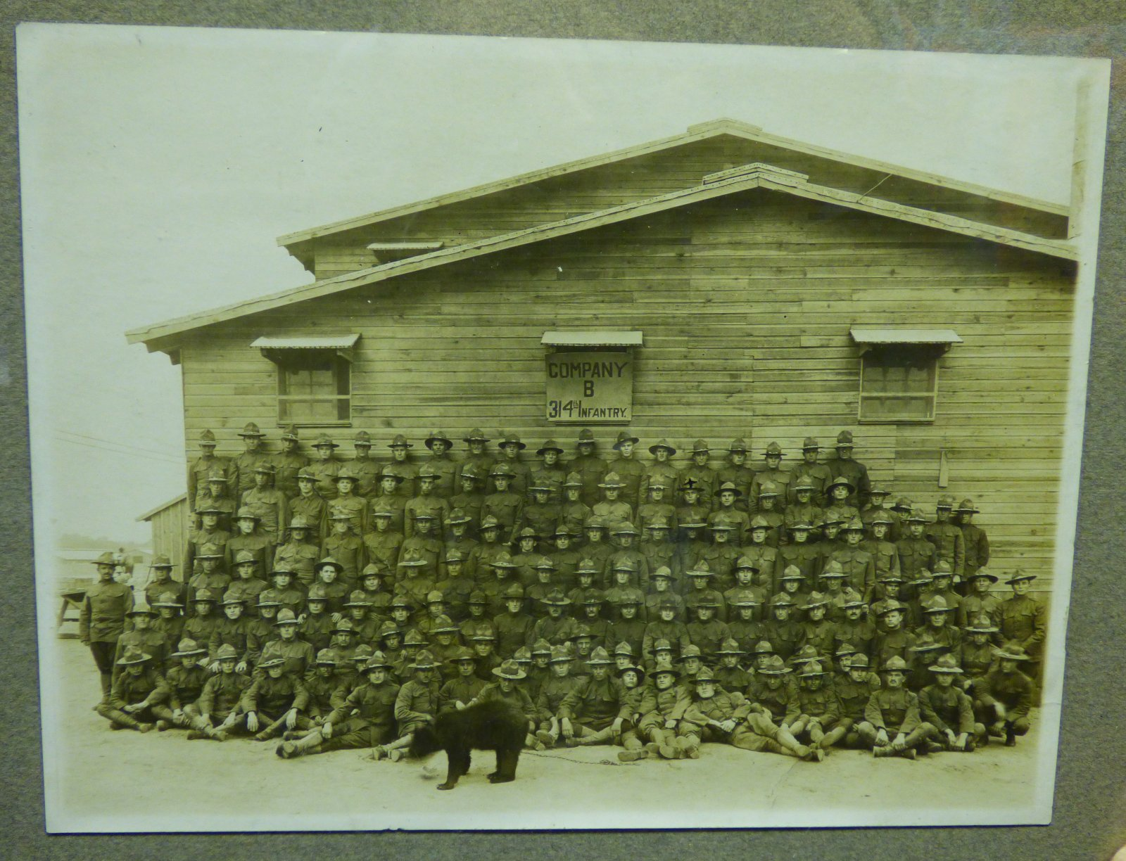314th Infantry Log Cabin Memorial - Company B photo - with Black Bear - full photo at 1600 pixels