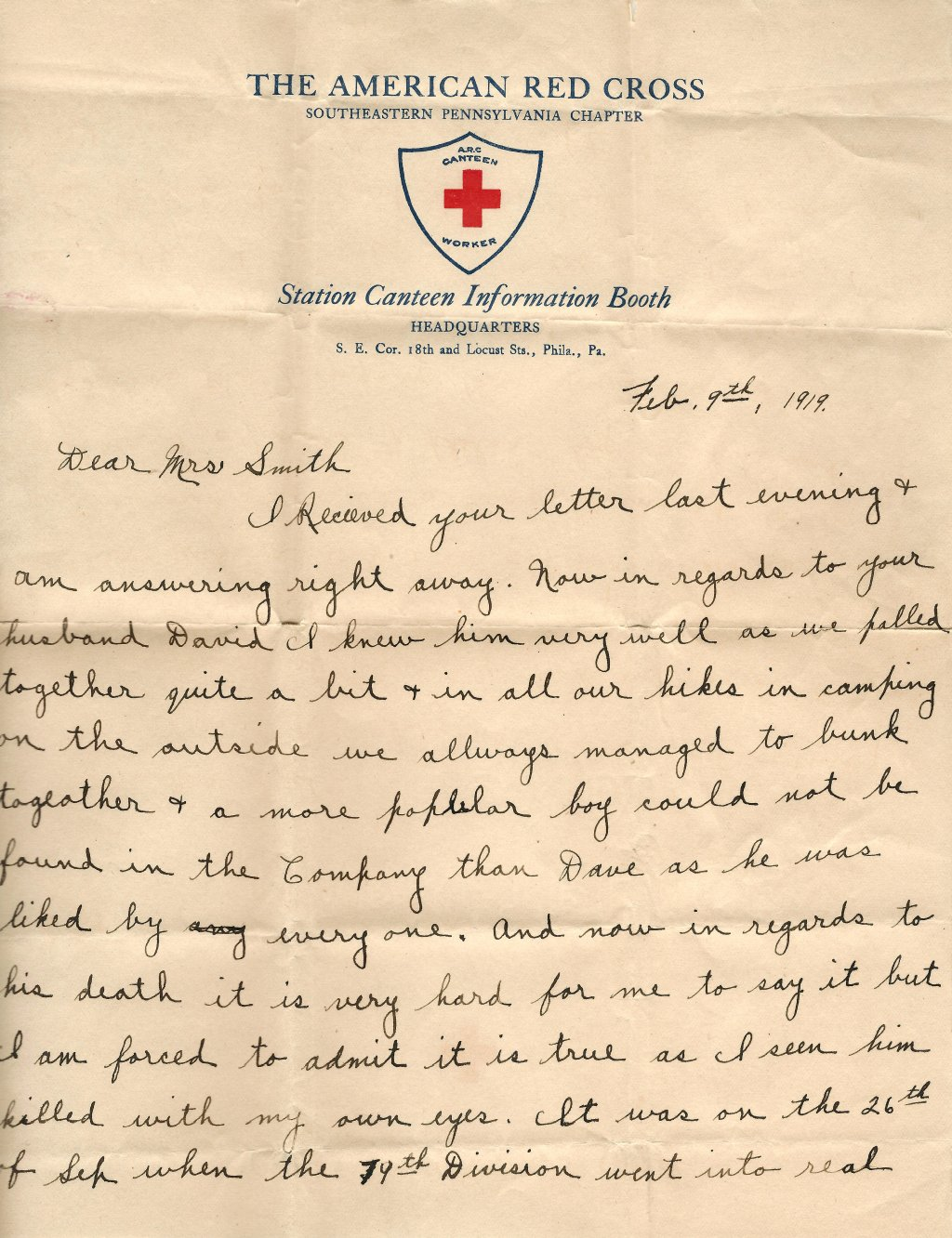 David Smith letter February 9 1919 on Red Cross Stationary from James Lennon - page 1