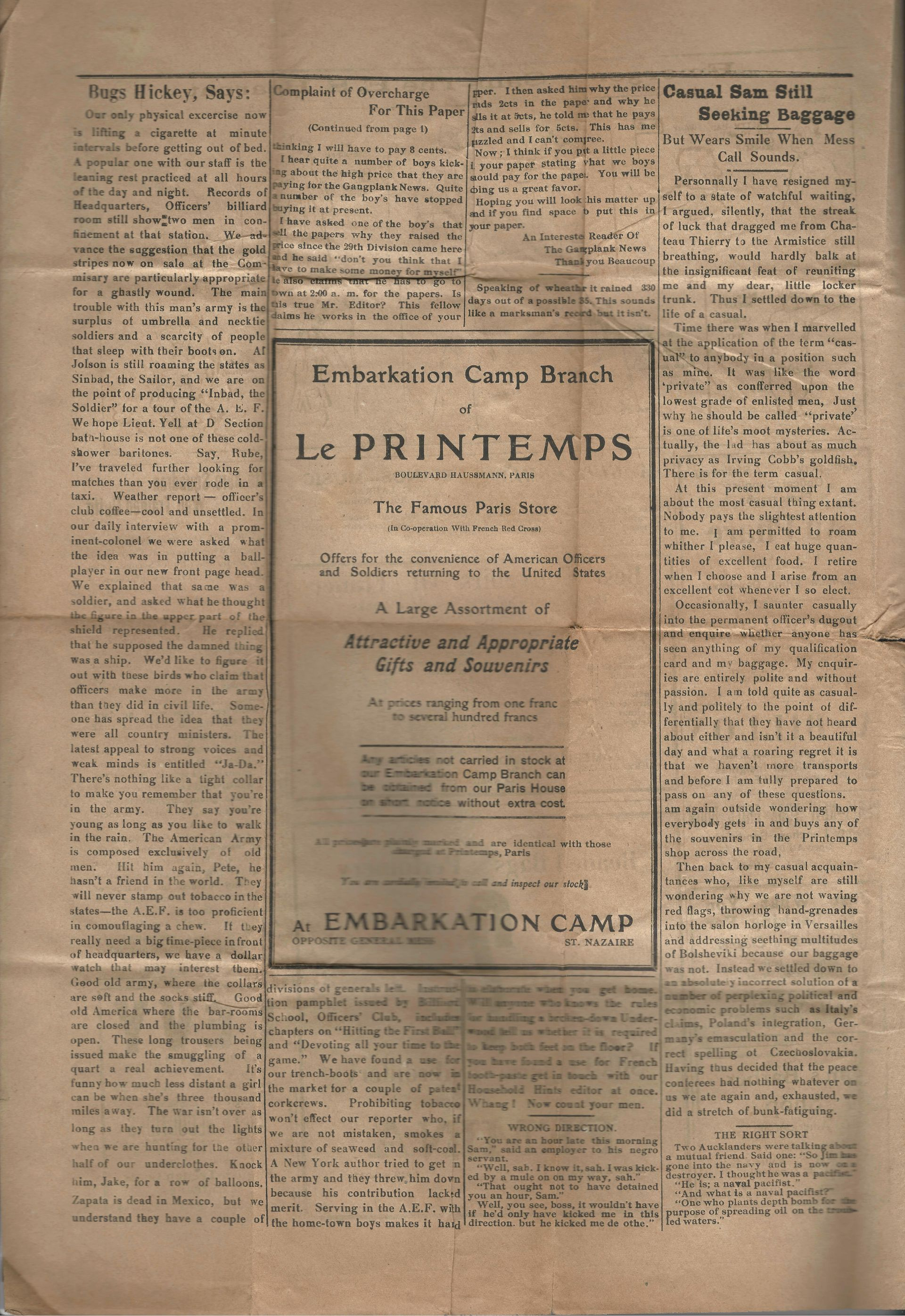 The Gangplank News - Newspaper - No. 31 - Embarkation Camp - St. Nazaire, France - May 3, 1919 - Page 4