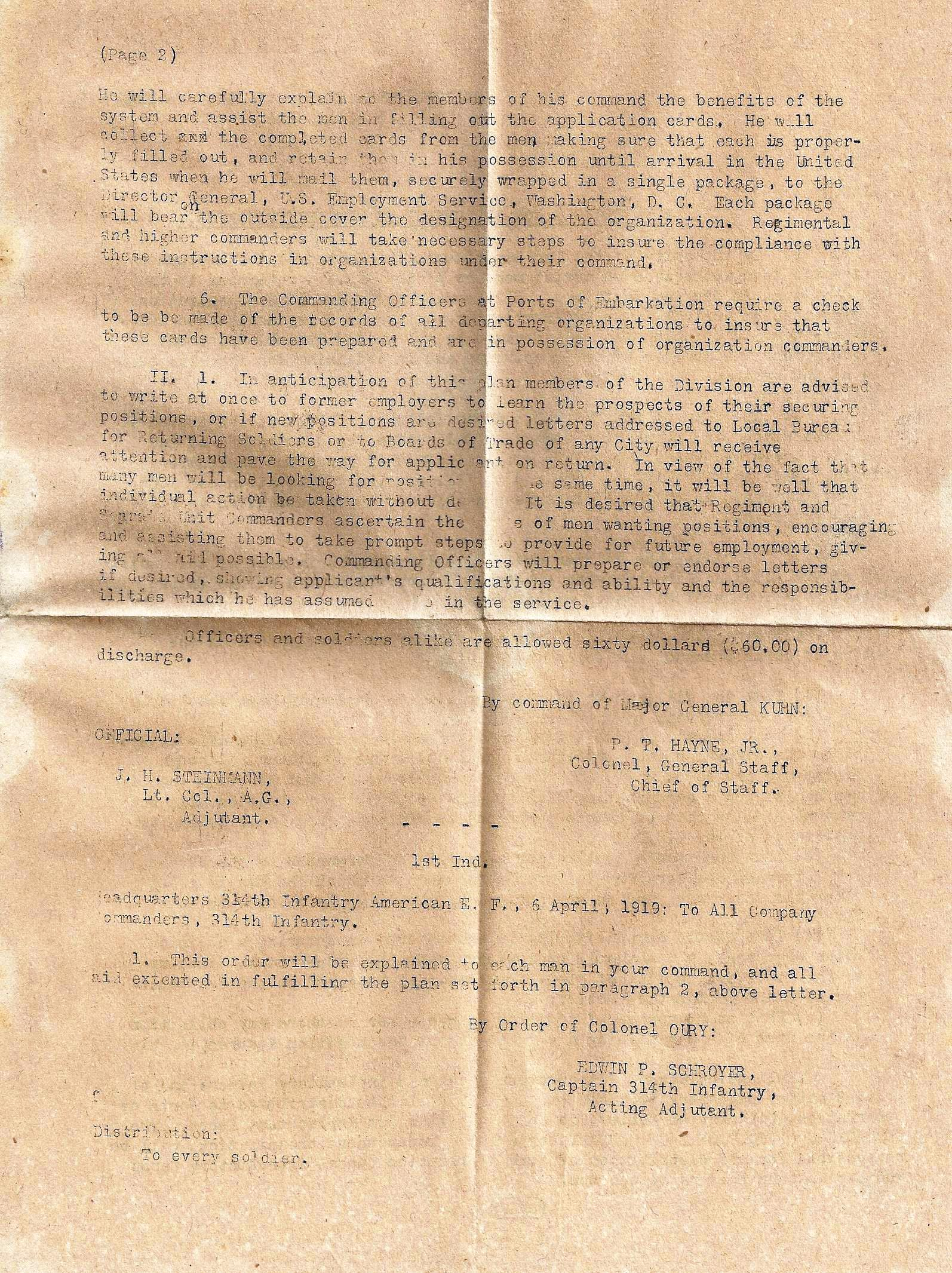 James M. Draper - Machine Gun Company - 314th Infantry 79th Division A.E.F. - Application for Employment - 2 of 2