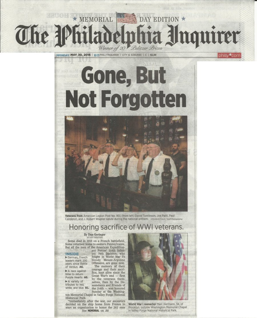 Philadelphia Inquirer newspaper May 30 2016 Memorial Day - 314th Infantry - Washington Memorial Chapel - Valley Forge