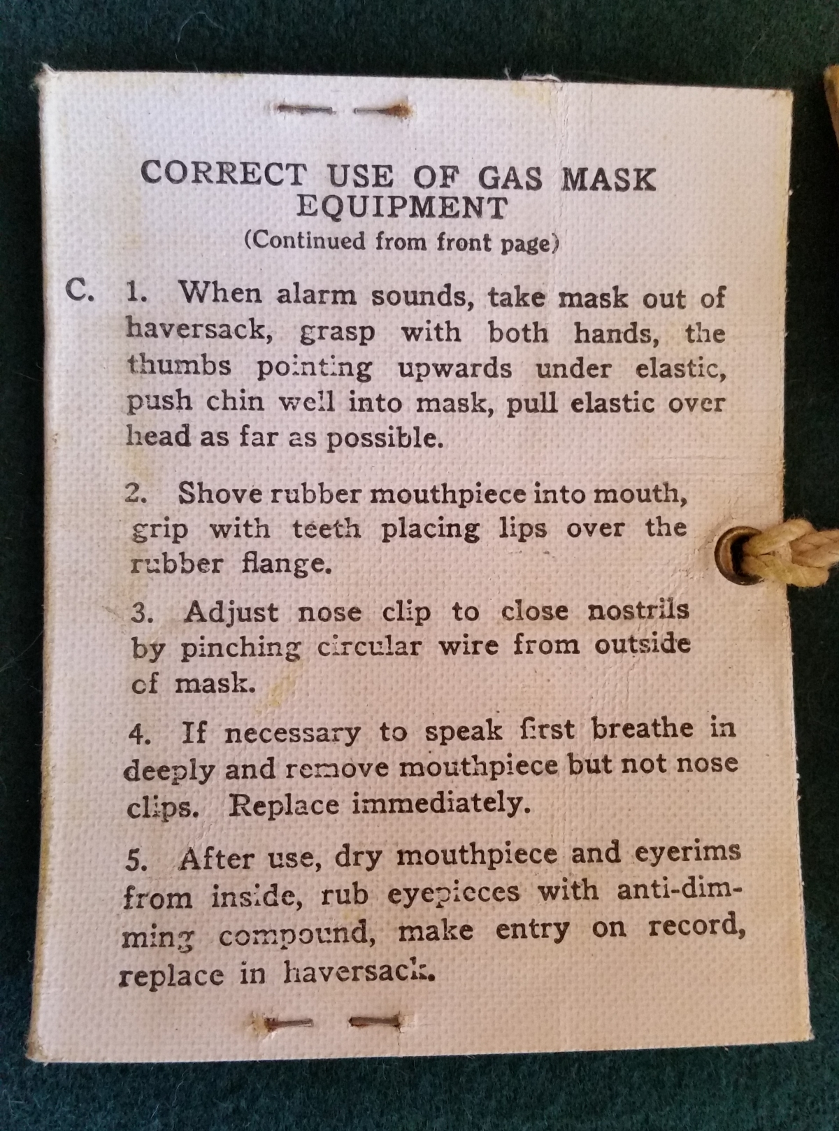 Miles Peters - Gas Mask Instructions