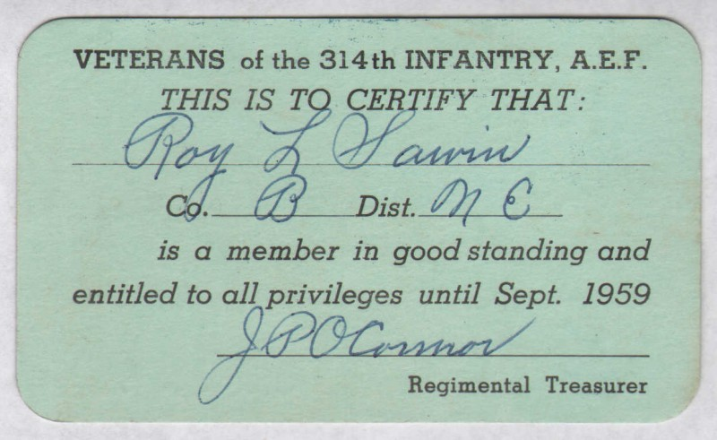 Roy Leslie Sawin - Veterans 314th Infantry Membership Card 1959 - Front - 800 Pixel Image