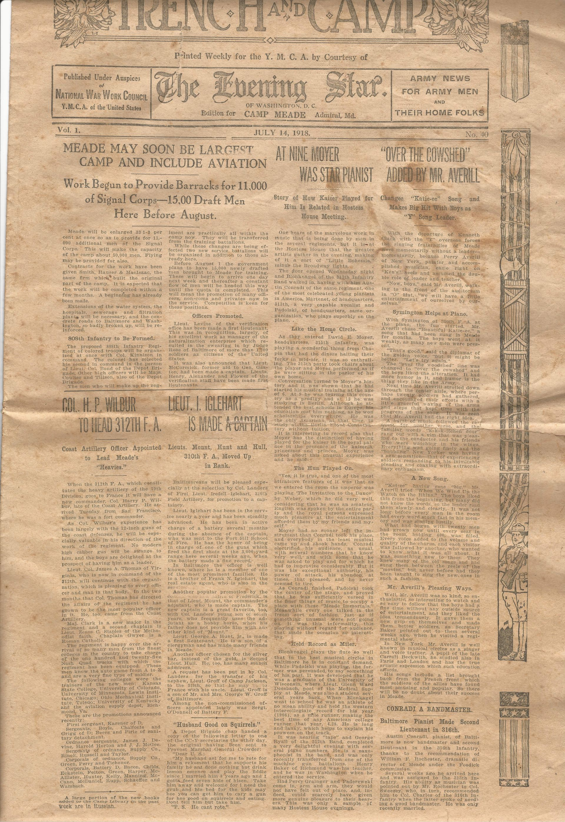 Trench and Camp Newspaper July 14 1918 Page 1