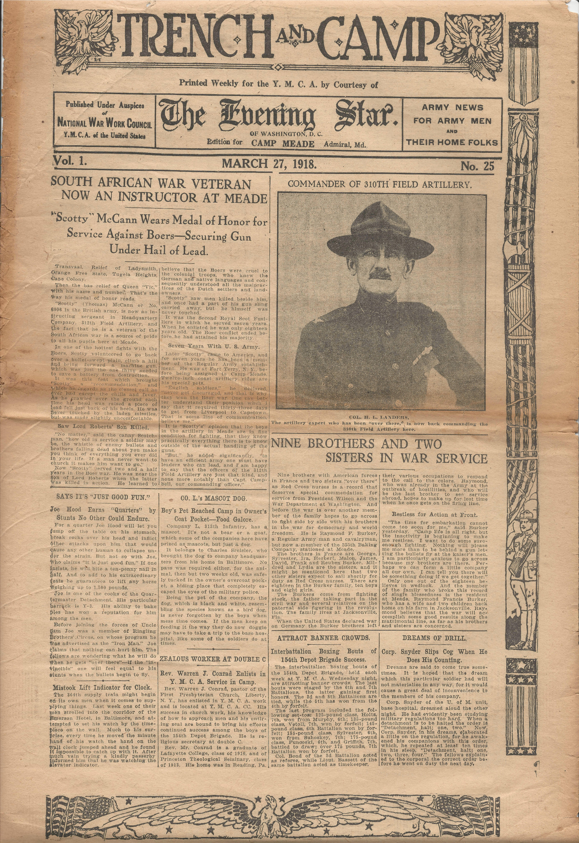 Trench and Camp Newspaper March 27 1918 Page 1