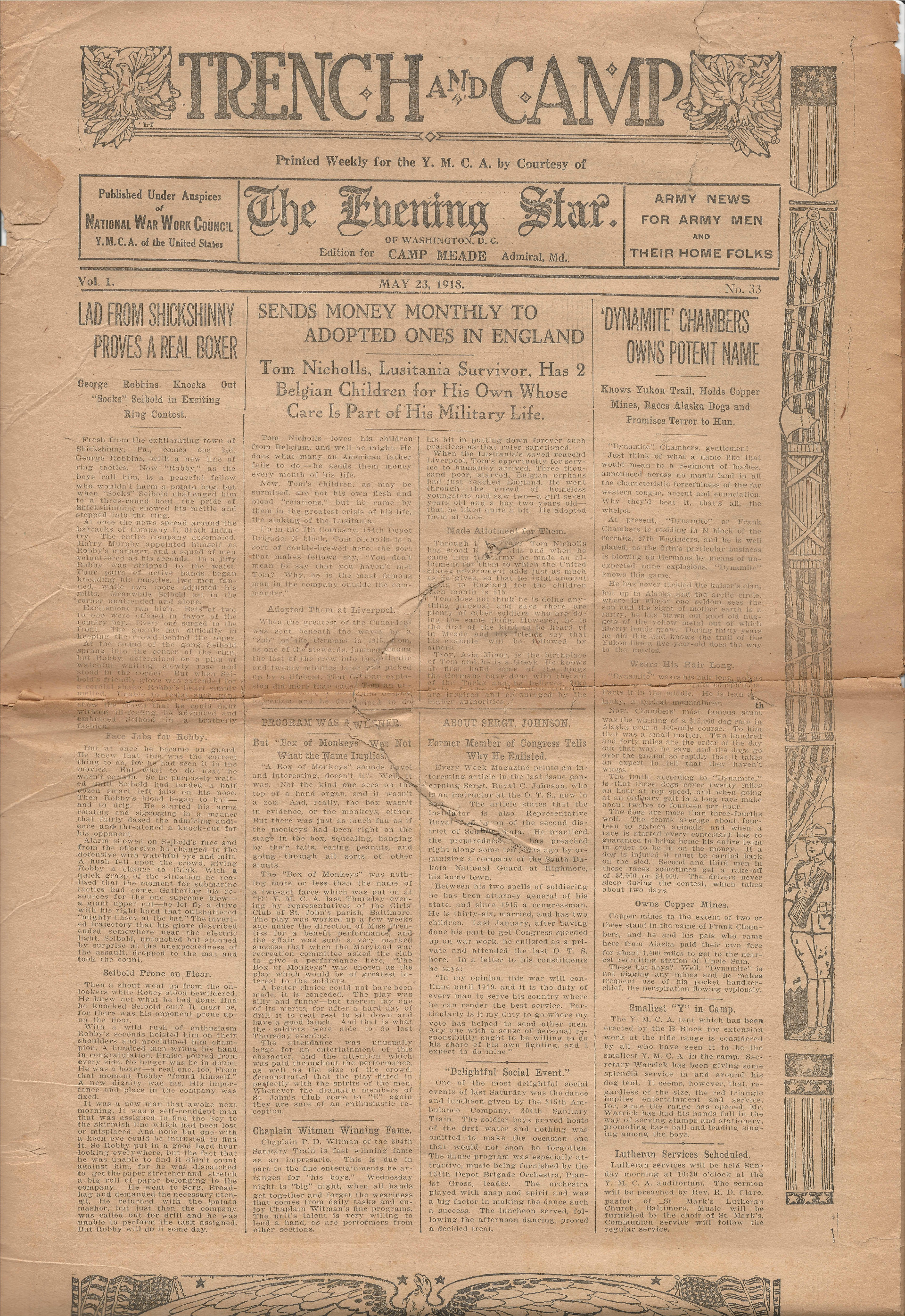 Trench and Camp Newspaper May 23 1918 Page 1