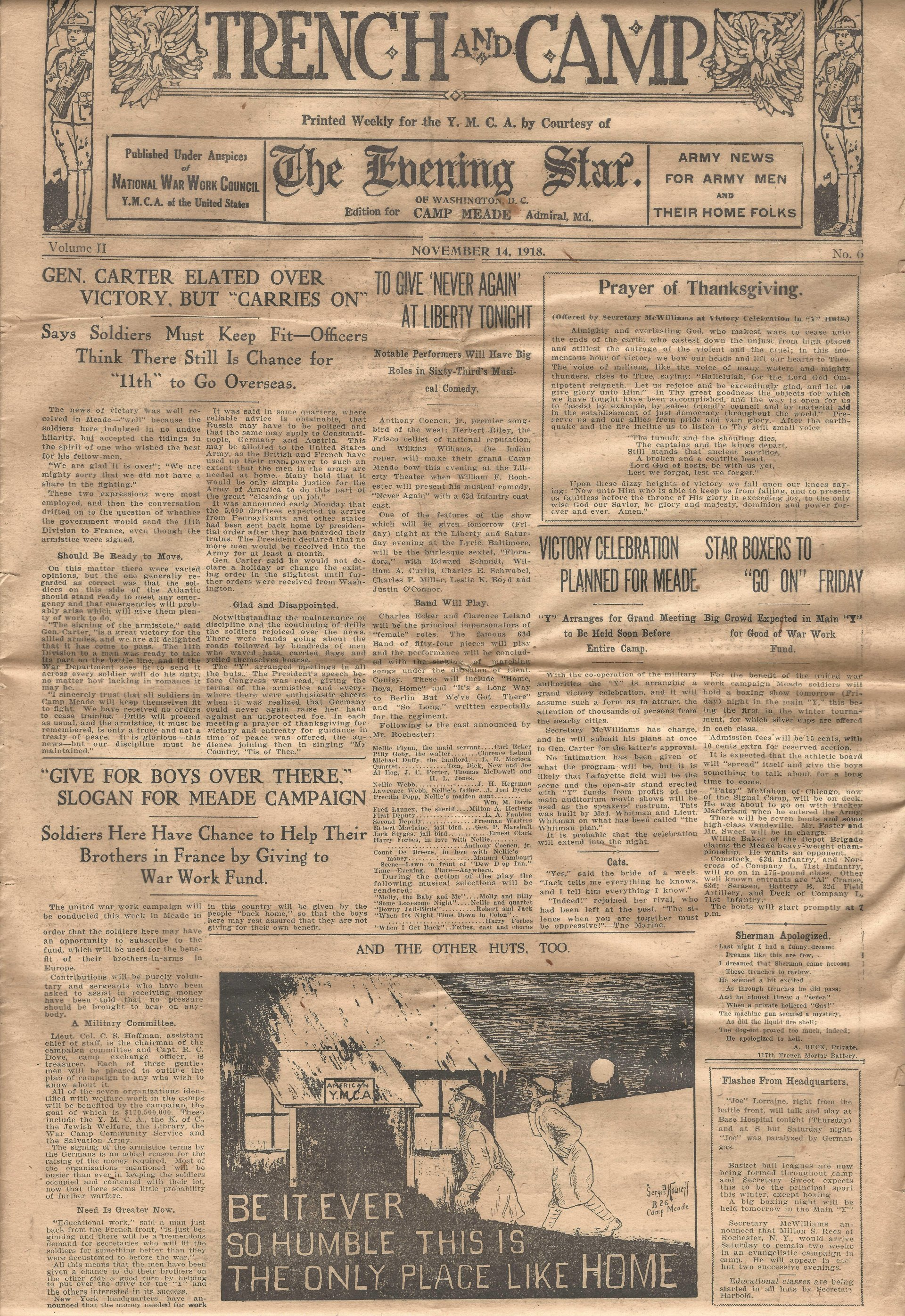 Trench and Camp Newspaper November 14 1918 Page 1