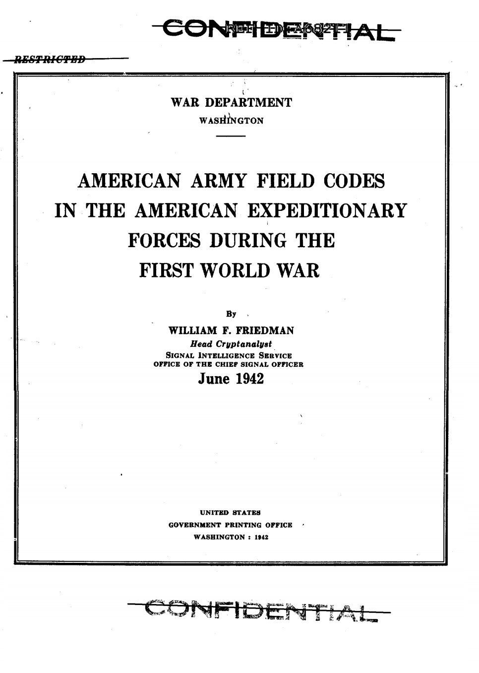 William F. Friedman American Army Field Codes in the AEF during World War One WW1 - page 4