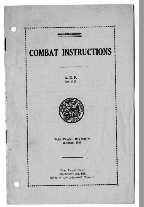 Combat instructions, A.E.F. no. 1348, War Plans Division, October, 1918 - Cover Page
