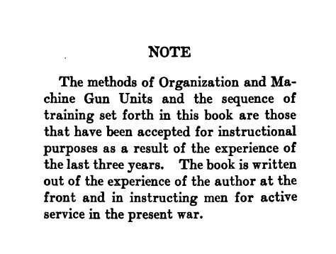 Machine Gun Practice and Tactics for Officers, N. C. O's and Men by Lieut. K. B. McKellar -- Owned by Sgt James Bishop - Intro