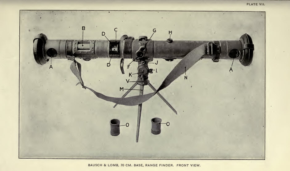 Bausch Lomb 70 cm base range-finder front view - from Handbook of Range-Finders for use of infantry and cavalry - 1915
