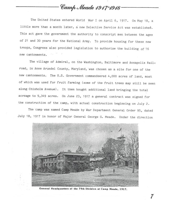 An Illustrated History of Fort George G. Meade (and Camp Meade too) - page 7 - 1917 1918