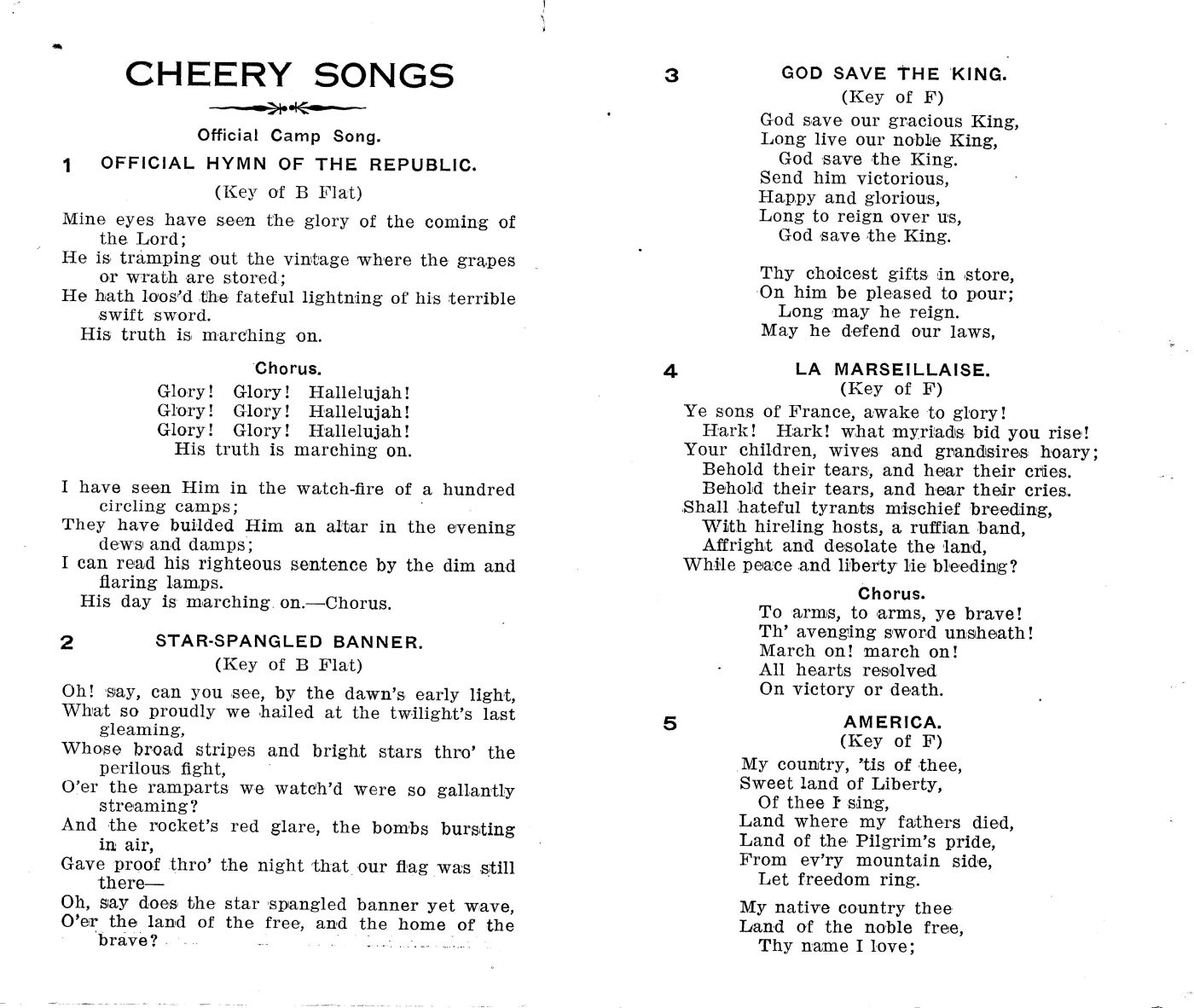 Cheery Songs for Cheerful Men - Compiled by F. F. Leonard - Director of Social Work, Y. M. C. A. Camp Meade - Pages 1 and 2