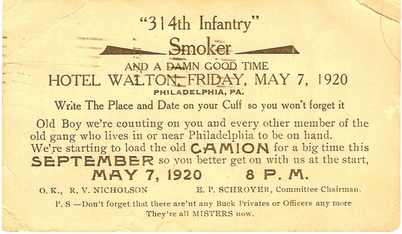 314th Infantry Regiment - Smoker - May 7 1920
