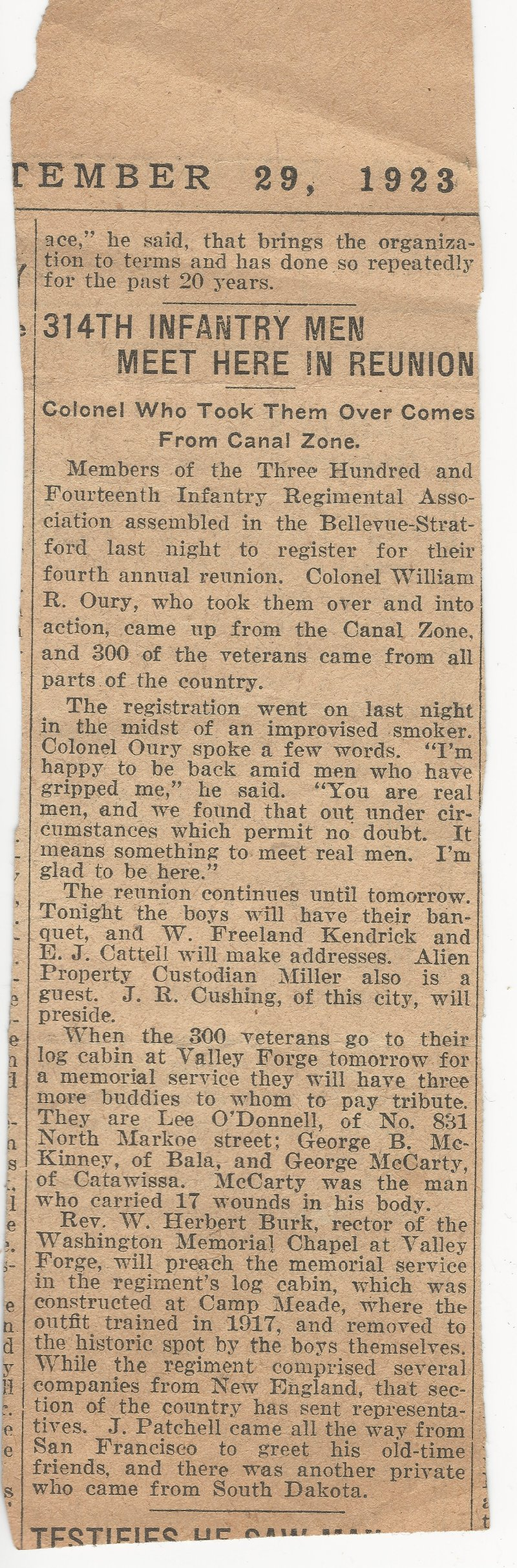 September 29 1923 newspaper article about 314 Infantry 1923 Reunion - probably The Philadelphia Inquirer newspaper