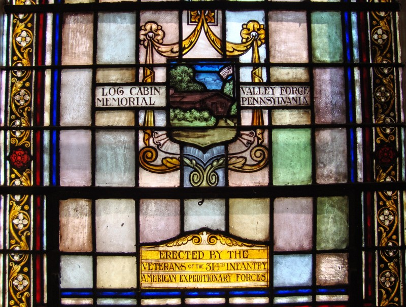 Veterans of the 314 Infantry American Expeditionary Forces Stained Glass Window in the Fort Meade Historic Main Post Chapel (Detail) Photo by Marc Romanych - Secretary, Western Front Association - East Coast Chapter