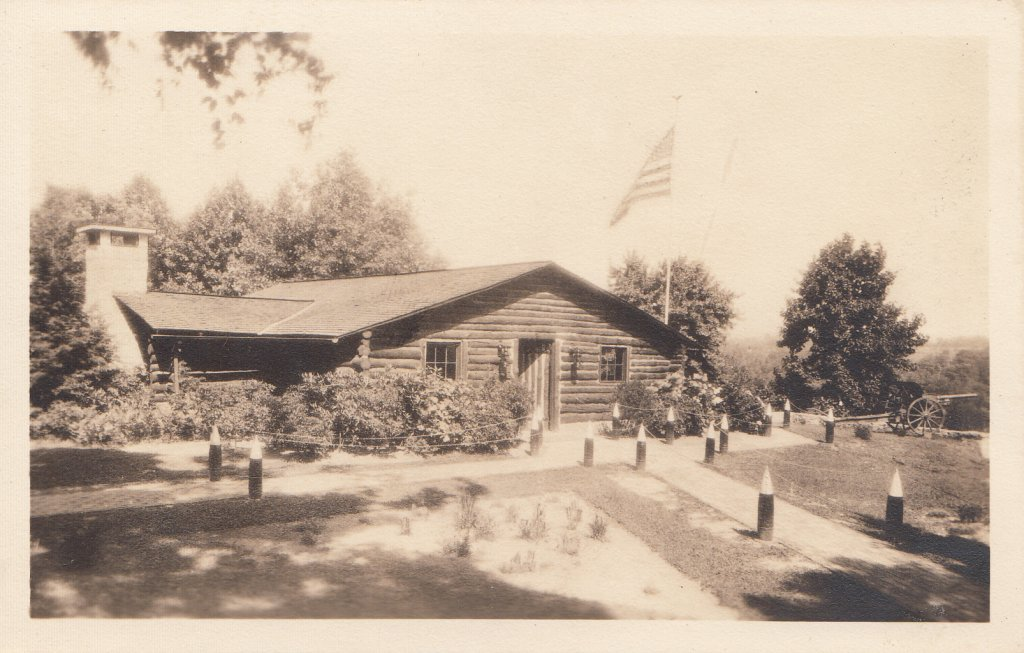 Azo Real Photo Postcard (RPPC) 314th Memorial Log Cabin, mid-1930's