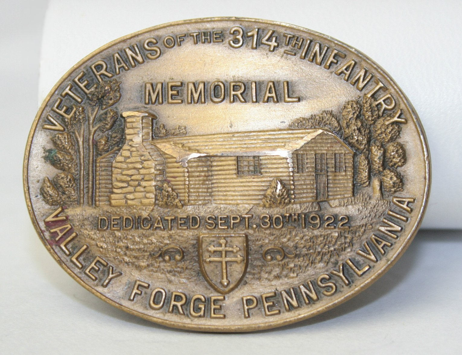 Log Cabin Memorial - Veterans 314th Infantry Regiment A.E.F. - Bronze Medal Coin
