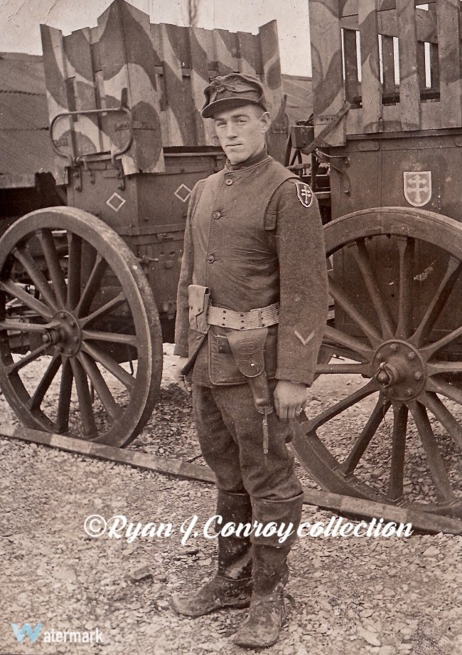 79th Division soldier (multiple Lorraine Crosses) in front of wagons with camouflage paint patterns - photo from Ryan Conroy