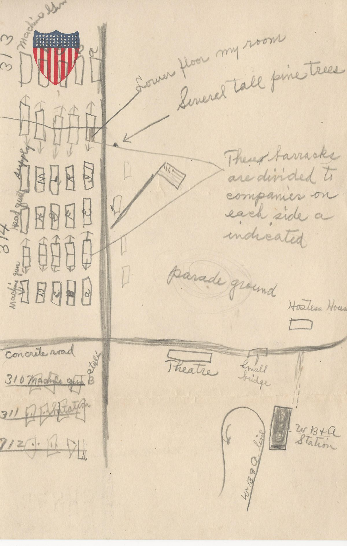 hand-drawn map by Ralph E. Acker of Company I, 314th Infantry,  originally of Freeburg, Snyder County, Pennsylvania (1200 pixels wide)