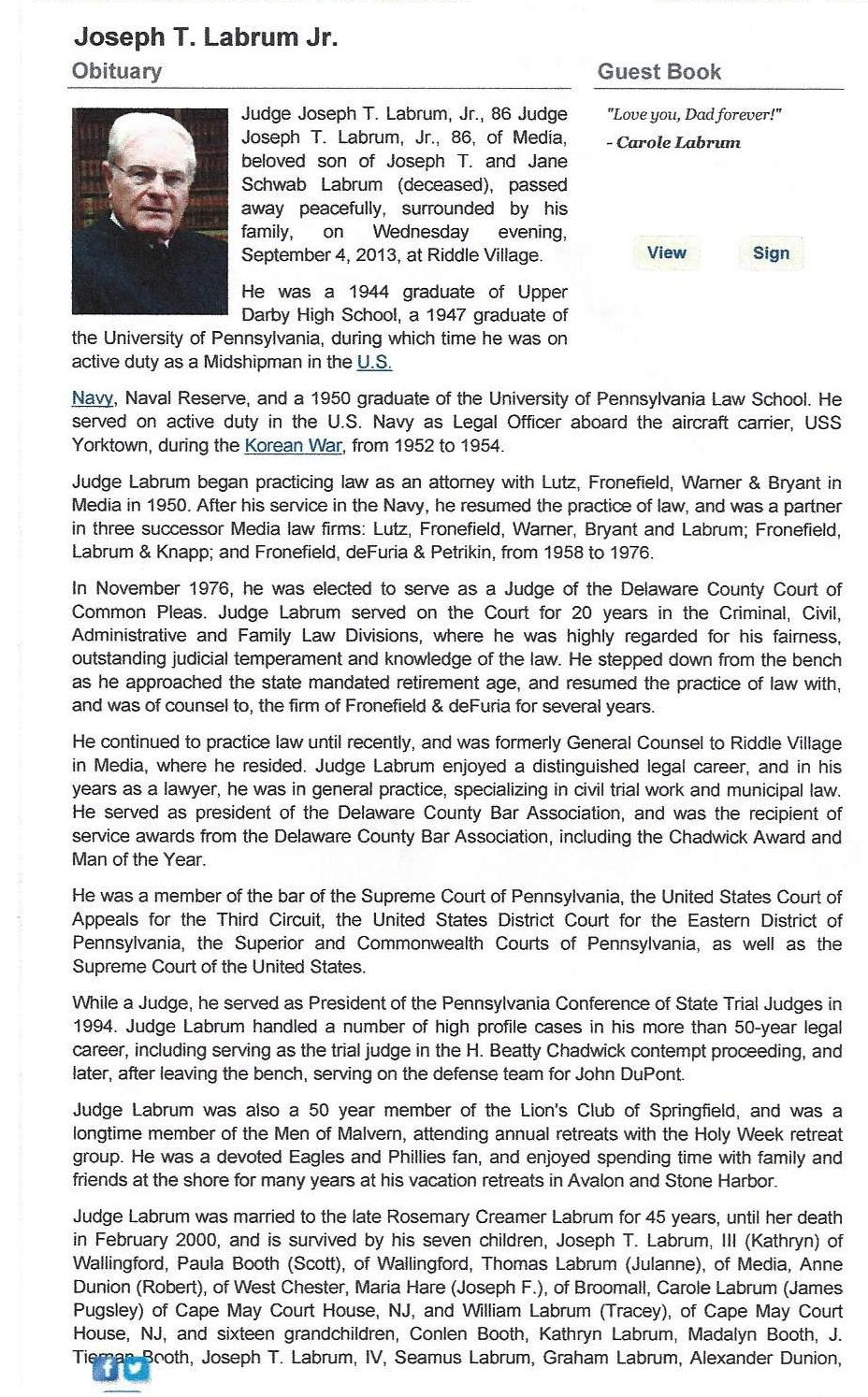 314th Infantry - Judge Joseph T Labrum - Obituary Page 1