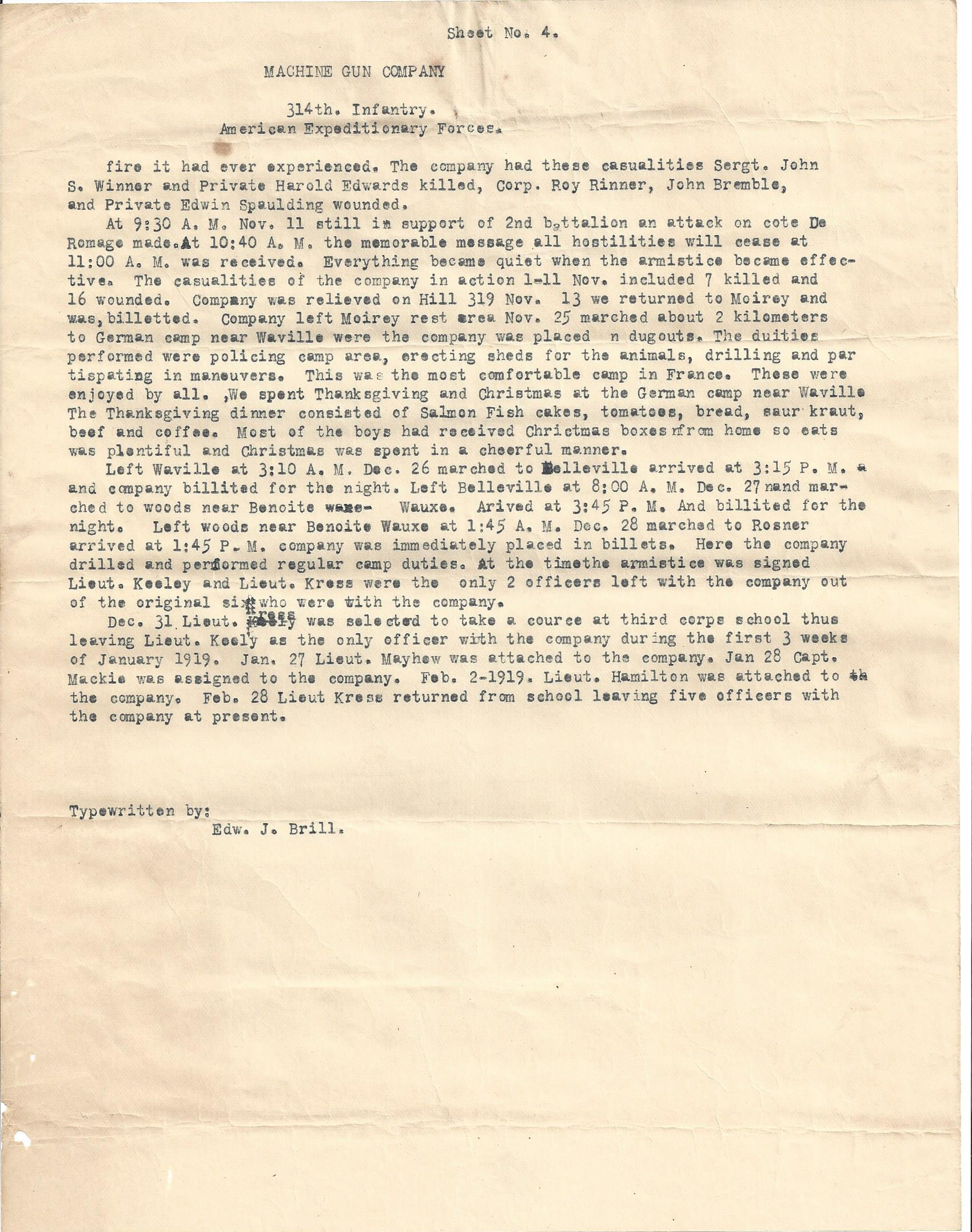 MG Company 314th Infantry AEF typewritten history page 4