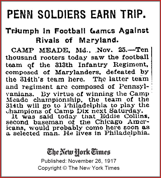 New York Times newspaper Pennsylvania Soldiers Earn Trip November 26 1917