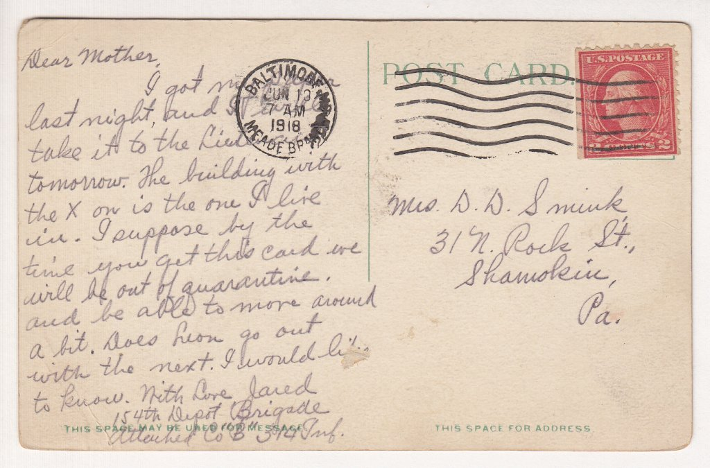 www.314th.org - Postcard - June 13 1918- Barracks 314th Infantry, Camp Meade, Maryland - Front