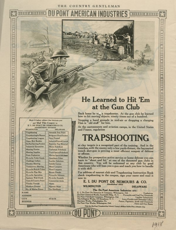 Trapshooting : He Learned To Hit 'Em at the Gun Club -- 1918 Du Pont advertisement
