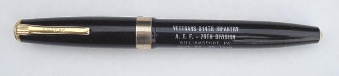 314th Infantry Regiment AEF - Souvenir Fountain Pen (black) From Annual Reunion #31 in Williamsport, PA - pen closed
