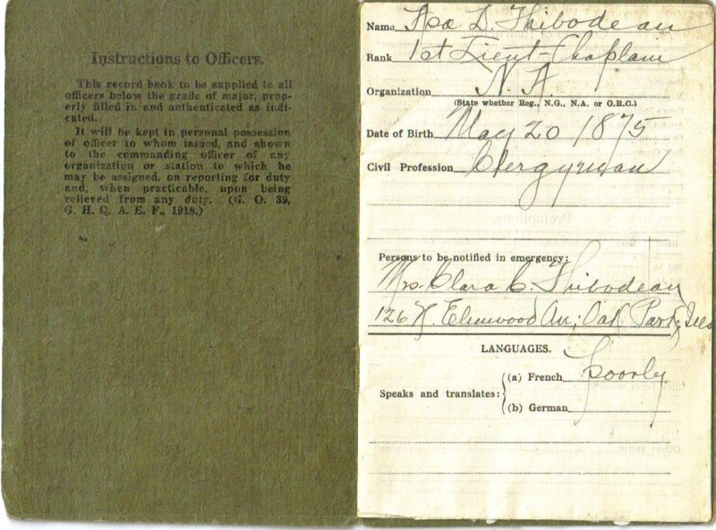 314th Infantry A.E.F. December 20, 1918: WWI Officers Record Book - First Lieutenant - Chaplain