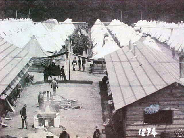 Camp Meade 1918 Photo Postcard (and close-up) showing many rows of tents in the background
