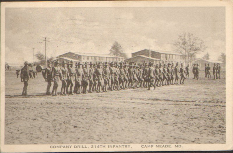 Postcard Company Drill 314th Infantry Camp Meade MD Maryland