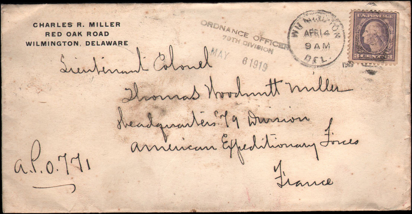 Hhomas W. Miller Lieutenant Colonel 79th Division Headquarters envelope May 6 1919