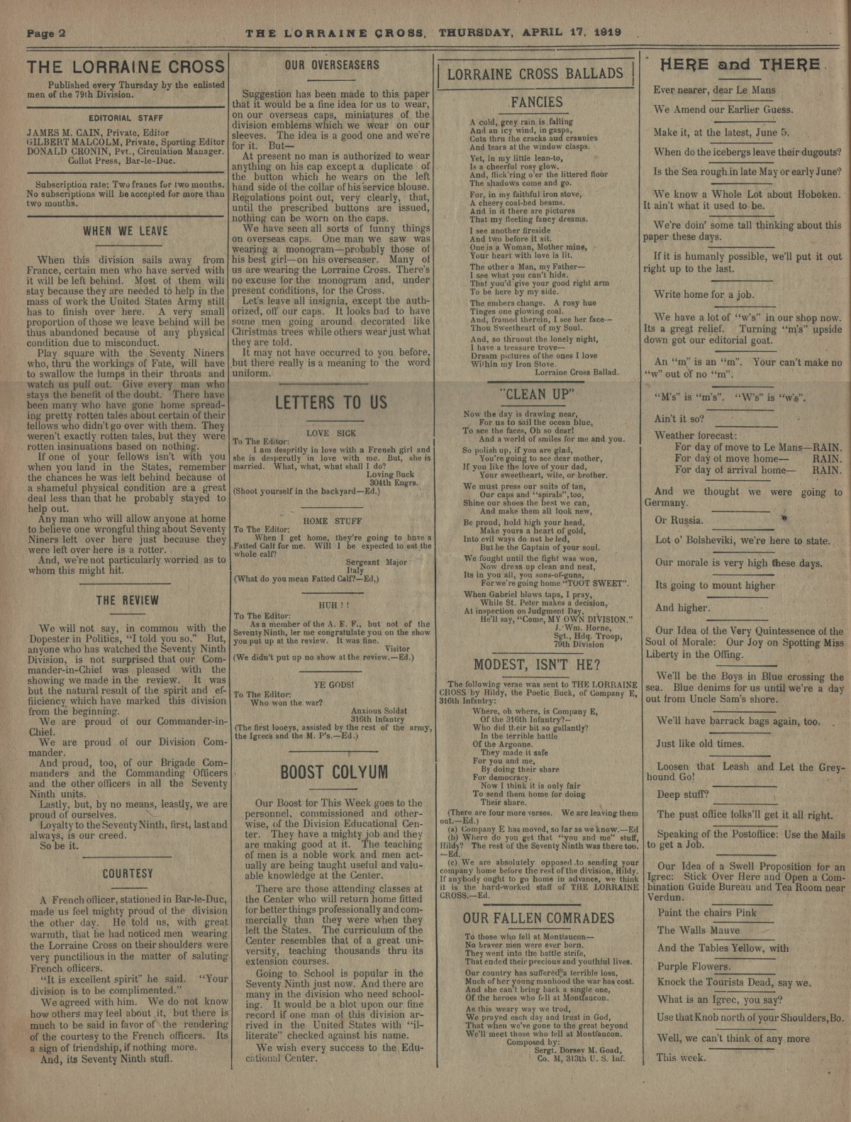 Lorraine Cross Newspaper Volume 1 Number 5 France April 17 1919 Page 2